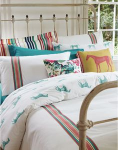 Joules DUVETHORSE Reversible Ribbon Stripe Horse Duvet Cover, Horse. Our equestrian heritage is captured in this horse print, complemented with ribbon stripe detailing on the reverse.