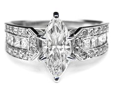 Engagement Ring - Marquise Diamond Vintage Engagement Ring Horse shoe