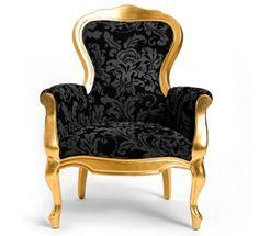 fauteuil baroque Carla chair en version Gold and Black (noir et or)