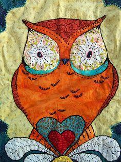 ...so lovely. An owl art quilt!