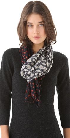 Stylmee - Tory Burch Fairmont Border Scarf $155  #fashiongame #fashion