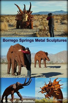 Borrego Springs Metal Sculptures - Southern California. Dozens of cool sculptures are scattered around the town. There are great RVing sites in town, at the Anza-Borrego State park and free boondocking! http://www.loveyourrv.com/boon-docking-near-borrego-springs-california/ #RV #RVing #California #Desert