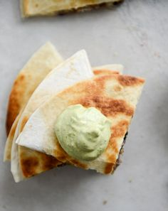 cheesy double-bean quesadillas with avocado ranch