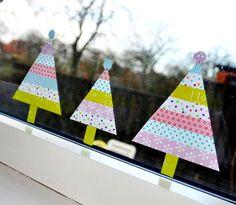 マスキングテープクリスマスツリー窓デコ