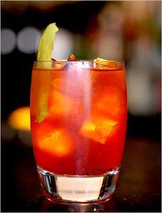 "The Roasted Orange Negroni Sbagliato (""bungled Negroni""), on the menu at dell'Anima in NY."