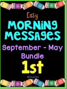 Morning Message: Year Bundle - 1st Grade: Save time and review skills with these morning messages. These work great for emergency sub plans or those days when you get pulled from class for last minute meetings. Paid