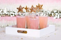 Sparkly star pink drinks!!