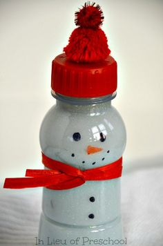 snowman hush bottles -- the calm down solution with soothing glitter!