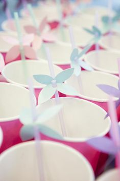 Cute idea for drinks / straws at a Fairy 1st Birthday Party via Kara's Party Ideas | Kara'sPartyIdeas.com