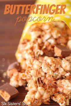 Butterfinger Popcorn Recipe from SixSistersStuff.com.  #recipes #dessert #popcorn #butterfinger