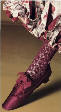 Shoe and Stocking, 1870-90, Kyoto Costume Institute -- beautiful colours!