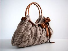 Knit Handbag NzLbags tote Handmade Shoulder Bag by NzLbags on Etsy, $75.00