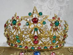French Antique Jeweled Ormolu Crown 1800s