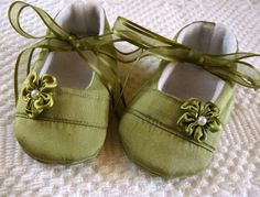Handmade Baby Shoes in Apple Green Silk Dupioni