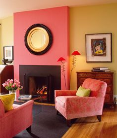 Holly Dyment. coral, maize and carbon. The tiny bits of red from the lamp make the whole room.