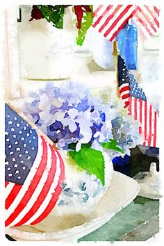 Waterlogue app, flags and flowers!