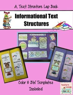 Informational Text Structures Lapbook from Teacher's Lounge on TeachersNotebook.com -  (24 pages)  - Lap books are a lot of fun and can get kids excited to write!   Have them create this Informational Text Structures Lap book to show off what they know about text structures.