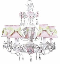 5-Arm Flower Garden Chandelier in White & Pink with Pink & Modern Green Shades