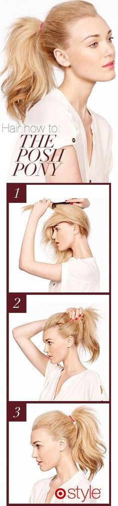 For a posh ponytail, use a comb to fluff the middle layers of your hair before you cinch with an elastic