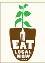 """""""eat local now"""" with cross-section of potted plant, fork for roots"""