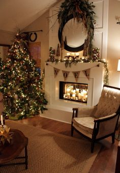 I like the greenery on top of the mirror. 23 Gorgeous Christmas Mantel Decoration Ideas