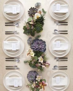 Liven up your tabletops with variety succulent arrangements, table settings, idea, centerpiec, weddings, flowers, table runners, succulent bouquets, tabl set