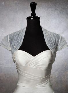 White Tulle Pearls LONG SLEEVES Bridal Bolero by YourWeddingMall, $65.00