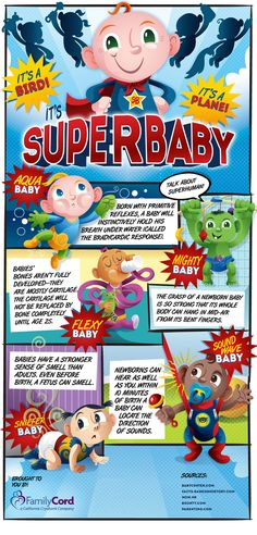 Super Baby Facts! Cute infographic about infant skills and development.