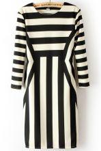 Black White Long Sleeve Asymmetrical Striped Dress $24.03  #SheInside