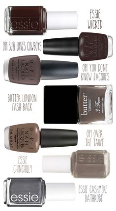 Best gray, taupe and brown nail polish colors! stylingmyeveryday.com Nail Polish Colors, Nail Nirvana, Brown Nail Polish, Brown Color, Diva Nail