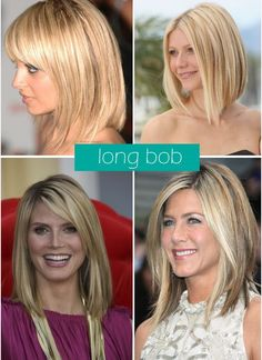 Long bob. Going fot the lower left (except dark brown)w the longer bangs for now to grow my bangs out. Then thinking i want to go lighter for summer like the lower right!