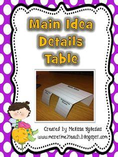 FREEBIE  Main Idea & Details Table   (Graphic Organizer)