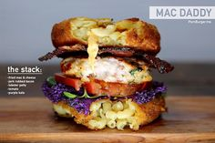 The MacDaddy... HOLY CRAP is that a mac & cheese patty being used as a bun?!? Sure is...