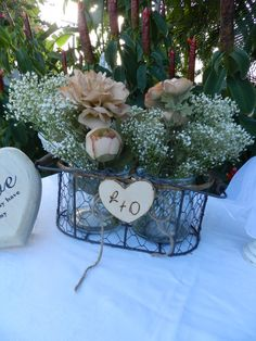 Rustic Glass Jar Table Decor in Wire Basket by ChiKaPea on Etsy, $29.95