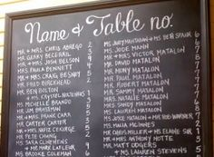 Another lovely chalkboard wedding seating plan. Here the guests are listed alphabetically.