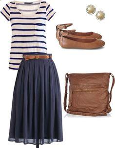 Striped tee midi skirt