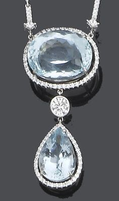 An aquamarine and diamond pendant necklace  The oval mixed-cut aquamarine within a brilliant-cut diamond border, suspending a collet-set brilliant-cut diamond and a pear-shaped aquamarine and brilliant-cut diamond swing drop, the whole suspended from a row of brilliant-cut diamonds and a trace-link chain, principal diamond approx. 0.40ct., lengths: pendant 4.0cm., necklace 39.0cm.