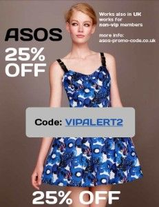 ASOS 25% off promo code. Works for non-vip members, too! http://asos-promo-code.co.uk