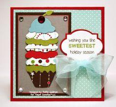 Scrumptious Sweetest Holiday Season Card by TE Guestie Alumni  Pattie Goldman! 8-) #Christmas, #Cupcakes, #Cardmaking