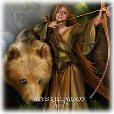 Sabine.. Matted Print...Medieval Woman Archer Protecting Bear... Celtic Pagan Fantasy Art on Etsy, $15.00
