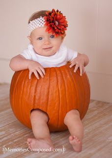 CUTE! - Baby photo ideas... Fall pumpkin session!   Fall photography ideas to do with your baby.