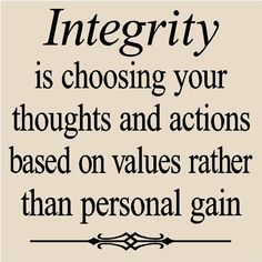 T62 Integrity is choosing your thoughts and actions based on values rather than personal gain  Vinyl lettering quote tile Decal. $7.99, via Etsy.