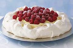 Raspberry Pavlova-This is a delicious creamy Italian dessert recipe. A layered dessert using a crisp meringue base with creamy pudding and topped with raspberries that also makes a beautiful presentation. It is also a healthy, low calories, low fat, No cholesterol, low sodium, low carbohydrates, WeightWatchers (3) PointsPlus and diabetic friendly recipe. Makes 12 servings.