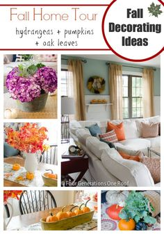 Looking for easy fall decorating ideas? Try using hydrangeas, sunflowers, pumpkins and dried oak leaves @4gens1roof