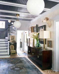Tommy Hilfiger's Trent Wisehart - ELLE DECOR, grey paint, chandeliers