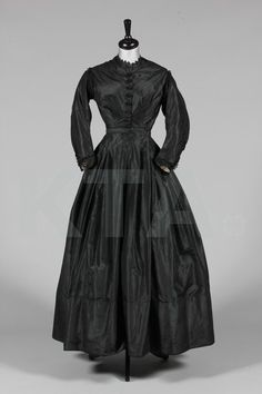 Mourning Gown 1860's, Made of taffeta