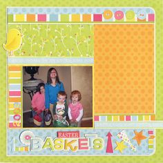 Easter Baskets - Scrapbook.com - #scrapbooking #layouts