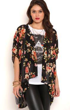 Deb Shops Short Sleeve Western Floral Kimono $15.7