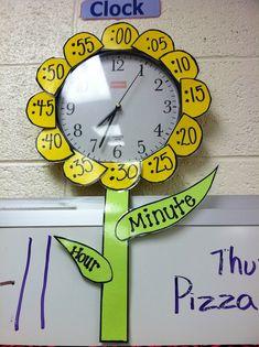 school, telling time, clock, anchor charts, teaching time, teacher, classroom ideas, flower, kid