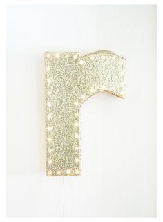 """16"""" Glitter Marquee Letter LED Night light. $52.25, via Etsy."""